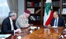كبير مستشاري وزارة الدفاع البريطانية التقى الرئيس عون وأكد دعم بلاده للبنان