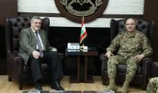 """قائد الجيش بحث مع كوبتش بالأوضاع العامة في لبنان والمنطقة والتقى وفدا من اتحاد """"أورا"""""""