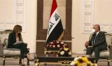 رئيس العراق أكد أهمية وقف الإنتهاكات العسكرية التركية التي تعد خرقا للقوانين