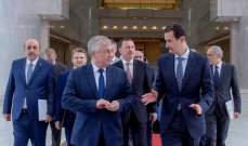 الأسد عرض مع لافرنتييف الجهود المتواصلة لإحراز تقدم على المسار السياسي في سوريا
