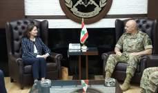 قائد الجيش التقى سفيرة الاتحاد الأوروبي وكبير مستشاري وزارة الدفاع البريطانية لشؤون الشرق الأوسط