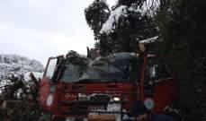 سقوط شجرة على آلية اطفاء خلال تنفيذ مهمة إنقاذ مواطن محتجز داخل سيارته في سقي رشميا