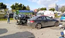 عدة اصابات نتيجة تصادم بين 4 مركبات على اوتوستراد الرئيس لحود