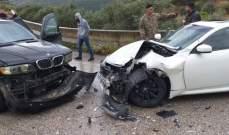 النشرة: اصابة مواطن بحادث سير على طريق مرج الزهور الحاصباني