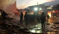 النشرة: حريق داخل معرض ومستودع  للاثاث المنزلي في مجدل عنجر