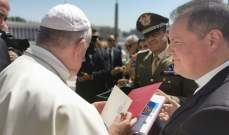 البابا فرانسيس شكر لواء غاريبالدي على الكنيسة الجديدة اللاتينية في شمع
