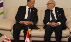 الرئيس عون يلتقي الرئيس التونسي الباجي قائد السبسي