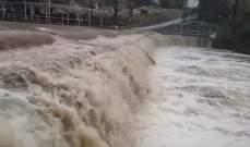 النشرة: ارتفاع منسوب مياه نهر الحاصباني متسببا بفياضانات وخسائر مادية
