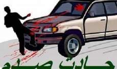 جريح نتيجة حادث صدم على اوتوستراد السفارة الكويتية باتجاه بيروت