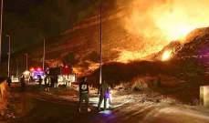 الدفاع المدني أخمد الحريق داخل مكب النفايات عند نقطة المصنع الحدودية