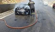 النشرة: إخماد حريق سيارة على طريق عام ترشيش- زحلة