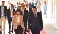 وصول ملكة السويد سيلفيا إلى قصر بعبدا