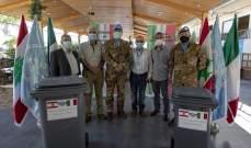 الكتيبة الإيطالية في اليونيفيل سلمت 500 مستوعب لتجميع النفايات لبلدية تبنين