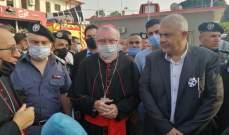 أمين سر دولة الفاتيكان زار فوج إطفاء بيروت والتقى عبود: بيروت الجريحة ستنهض من جديد