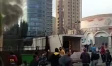 محتجون أحرقوا غرفة الحرس أمام مدخل سراي طرابلس