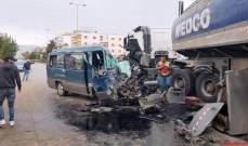 """النشرة: قتيل وعدد من الجرحى بحادث سير بين صهريج لنقل المحروقات و""""فان"""" في كسارة- زحلة"""