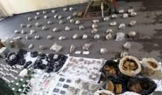 الجيش:توقيف 324 شخصا وضبط 78 سلاحا وكمية من المخدرات خلال كانون الثاني
