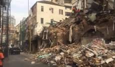فريق إنقاذ تشيلي يعاين أحد الأبنية المهدمة في مار مخايل بعد الاشتباه بوجود شخص أو أكثر تحت الأنقاض