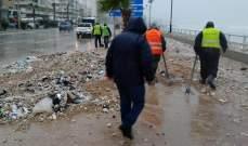 فرق طوارئ وورش بلدية صيدا رفعت أضرار العاصفة من المدينة
