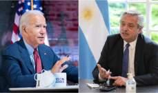 الرئاسة الأرجنتينية: بايدن بحث مع فرنانديز بتعزيز العلاقات بين واشنطن وأميركا اللاتينية