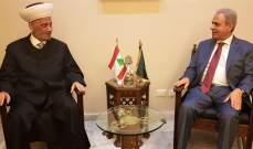 """المفتي دريان التقى عبد العزيز ووفد جمعية """"جامع البحر"""" في صيدا والخطيب"""