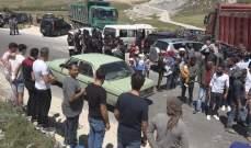 اعتصام وقطع الطريق من قبل أصحاب الشاحنات والكسارات في ميدون