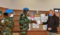 الكتيبة الغانية قدمت هبة عبارة عن مواد طبية لبلدية مروحين لمكافحة كورونا