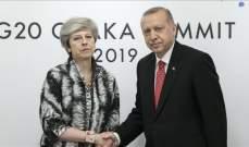 أردوغان التقى رئيسة الوزراء البريطانية على هامش قمة العشرين في أوساكا
