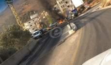 النشرة: قطع طريق الحاصباني- مرجعيون بالإطارات المشتعلة