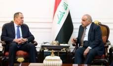 عبد المهدي للافروف: العراق يلعب دور التهدئة بالمنطقة وعلاقاته الخارجية بأفضل حالاتها