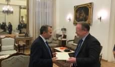 باسيل التقى داريل عيسى وشورتر وتسلم أوراق اعتماد سفير ايرلندا
