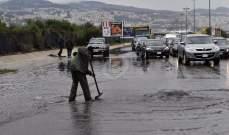 ازدحام السير على اوتوستراد البداوي نتيجة غزارة الأمطار