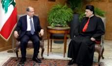 الرئيس عون استقبل البطريرك الراعي وبحث معه الاوضاع الراهنة