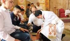 رئيس أساقفة صور للموارنة ترأس رتبة الغسل في كنيسة سيدة البحار