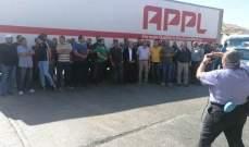 اعتصام لأصحاب الشاحنات عند معبر المصنع وقطع الطريق ساعة احتجاجا على فرض رسوم وضرائب مرتفعة