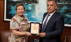 اللواء ابراهيم التقى رئيسة أركان هيئة مراقبة الهدنة التابعة للأمم المتحدة