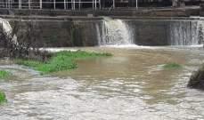 النشرة: ارتفاع منسوب مياه نهر الحاصباني بسبب الأمطار الغزيرة
