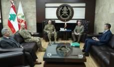 قائد الجيش بحث مع قائد قوات اليونيفيل بعلاقات التعاون والأوضاع بالمنطقة الحدودية الجنوبية