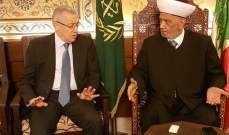 فتفت: دار الإفتاء مرجعيتنا على الصعيد الديني ومن واجبنا أن نتضامن معه