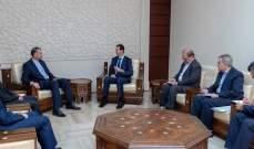 الأسد جدد خلال لقائه عبد اللهيان دعم سوريا لإيران بوجه التهديدات الأميركية