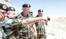 وصول قائد الجيش إلى رأس بعلبك لتفقد الوحدات العسكرية