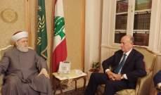 ريفي بعد لقائه المفتي قباني: لبنان يمر في أزمة صعبة