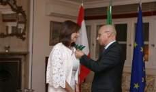 سفير ايطاليا أقام احتفالا لمناسبة منح عفيش وسام نجمة التضامن الايطالي