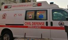 الدفاع المدني: نقل جثة مواطنة من عاليه إلى مستشفى قبرشمون الحكومي