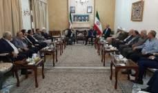 عبداللهيان إلتقى وفداً من لجنة دعم المقاومة في فلسطين