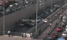 رفع الحادث المروري داخل نفق المدينة الرياضية والسير الى تحسن تدريجي
