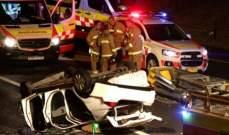 اصابة 4 اشخاص بحادث سير وقع ليلا بين سارة ودراجة على طريق عام حريصا