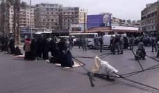إعتصام لأهالي الموقوفين الإسلاميين عند مستديرة نهر أبو علي بطرابلس