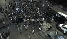 التحكم المروري: قطع السير على تقاطع الصيفي بيروت من قبل بعض المحتجين