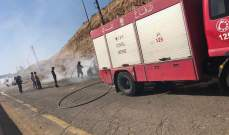 الدفاع المدني أخمد حريق سيارة على اوتوستراد صيدا - صور